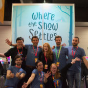Myriad GS team photo in front of WtSS booth at PaxAus 2018